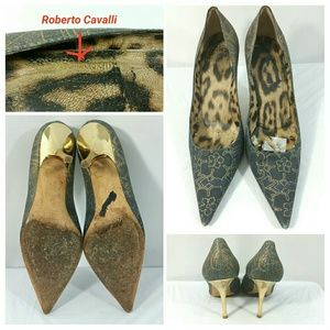 Roberto Cavalli Shoes - Roberto Cavalli Fabric Blue Gold Floral Shoes